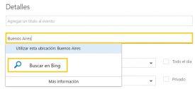 Añadir mi ubicación en Outlook.com