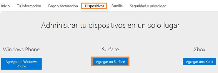 Añadir un Surface a Outlook.com