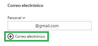 Añadir una dirección de correo a un contacto