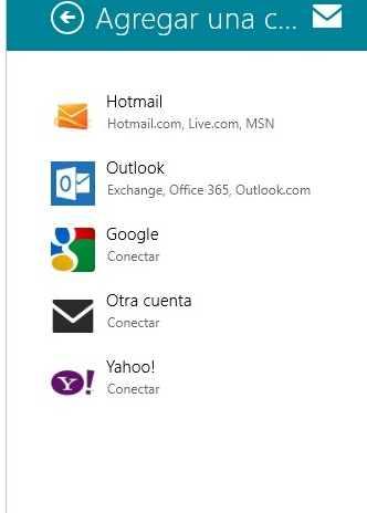 Añadir varias cuentas de Outlook.com a Windows 8