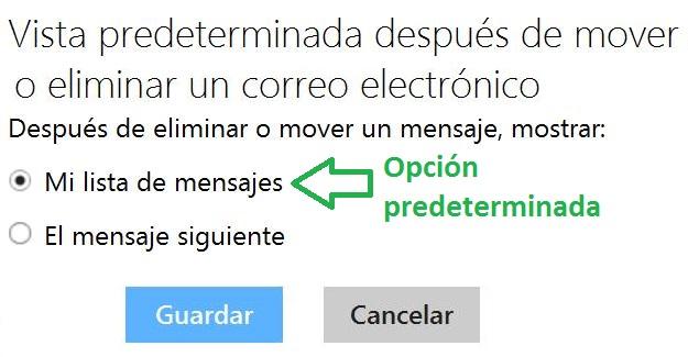 Acción después de mover o eliminar un correo electrónico