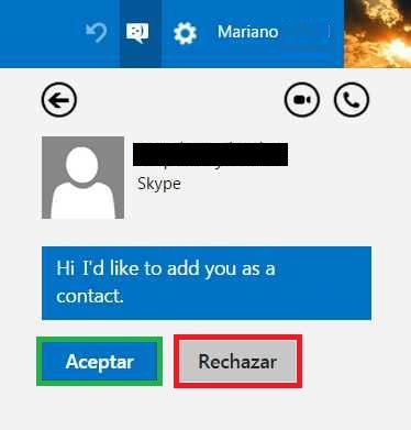 Aceptar solicitud contacto en Skype para Outlook.com