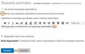 Activar las respuestas automáticas en Outlook.com