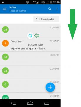 Actualizar los correos electrónicos en Outlook para Android