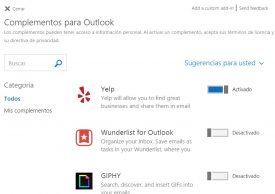 Administrar complementos en Outlook.com
