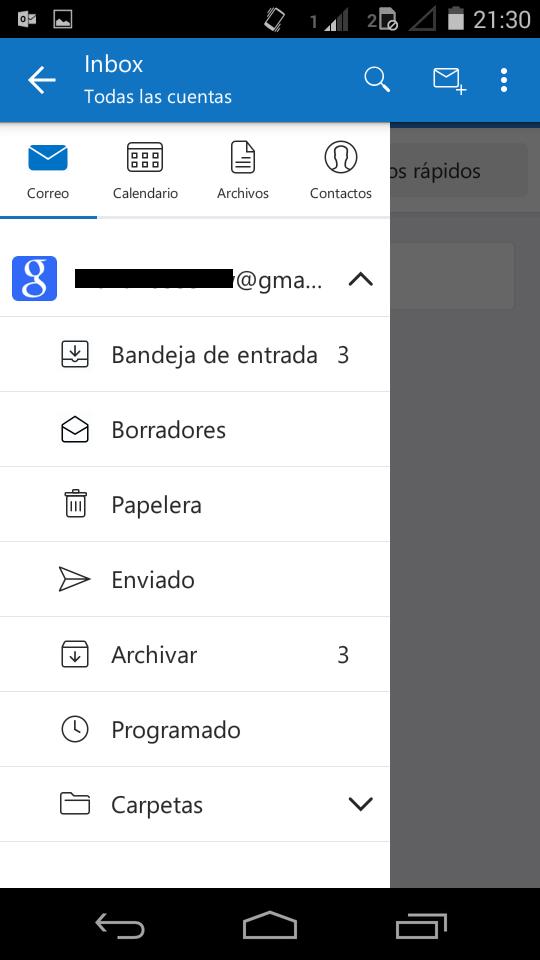 Administrar correos de Gmail en Outlook para Android