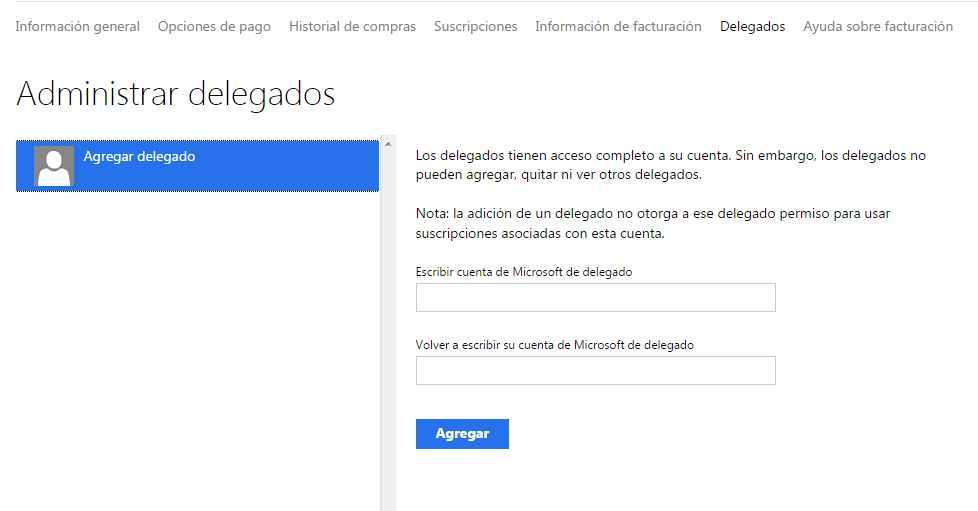 Administrar los delegados de una cuenta Microsoft