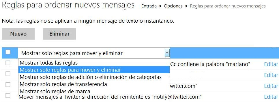 Administrar reglas en Outlook.com