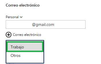 Agregar dirección de correo a un contacto