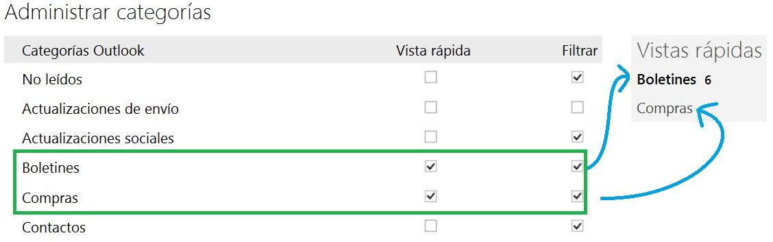 Agregar nuevas vistas rápidas en Outlook.com