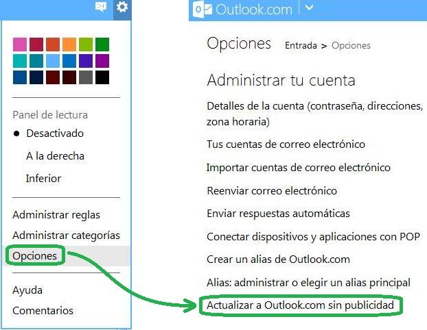 Anuncios en el interior de los correos en Outlook.com