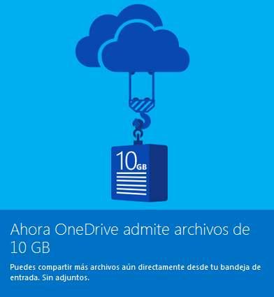 Archivos más grandes en OneDrive
