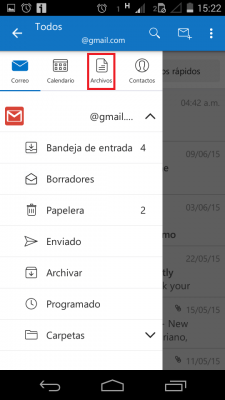 Archivos sincronizados en Outlook para Android