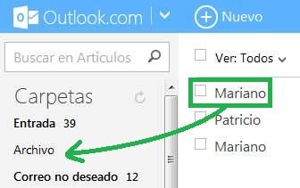 Arrastrar correos en Outlook.com