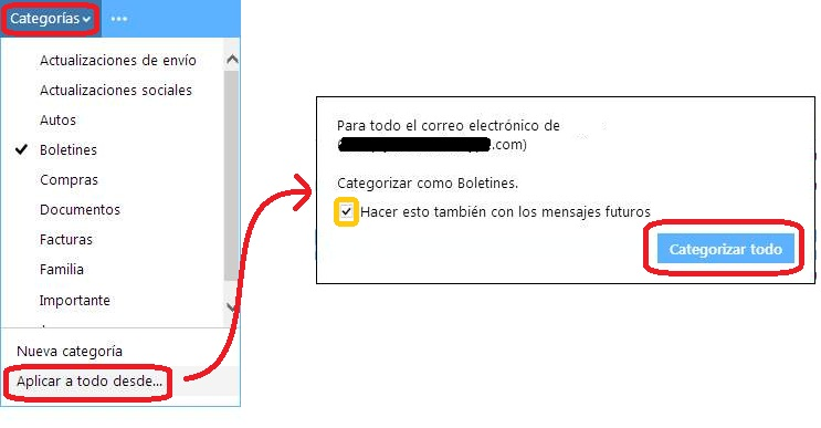 Asignar categorías mediante reglas en Outlook.com
