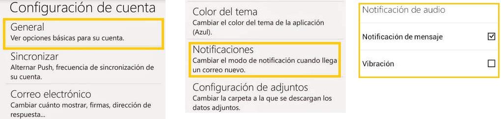 Avisos de nuevos mensajes de Outlook.com para Android