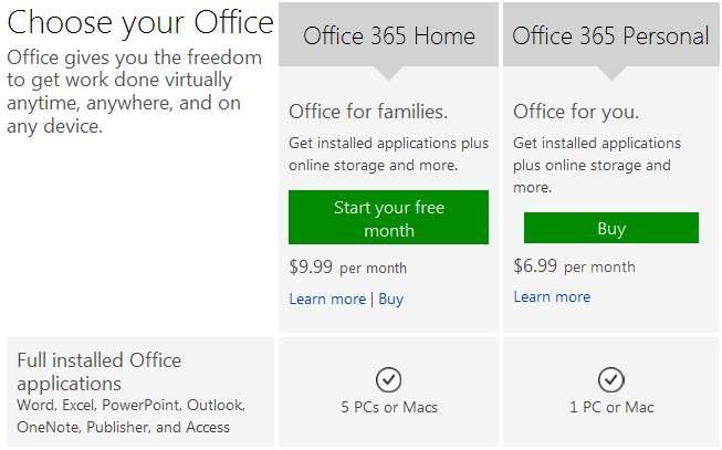 Baja el precio de Office 365