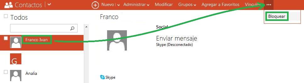 Bloquear contactos en Skype para Outlook.com
