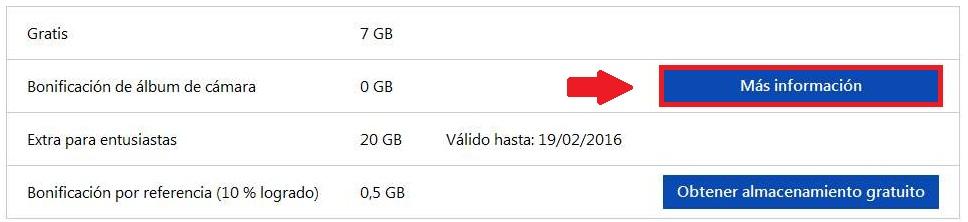 Bonificación de álbum de cámara para OneDrive