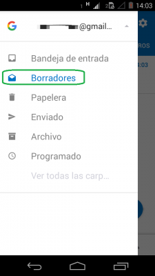 Borradores en Outlook para Android
