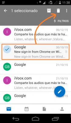 Borrar correos en Outlook.com para Android