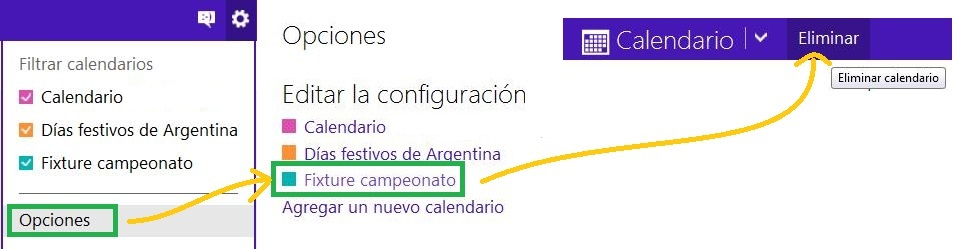 Borrar un calendario en Outlook.com