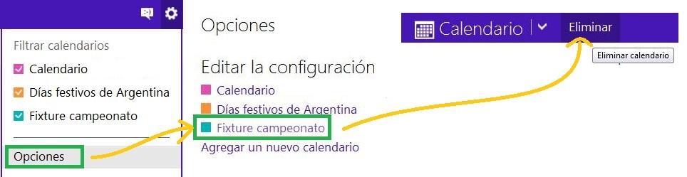 Borrar un calendario en Outlook.com