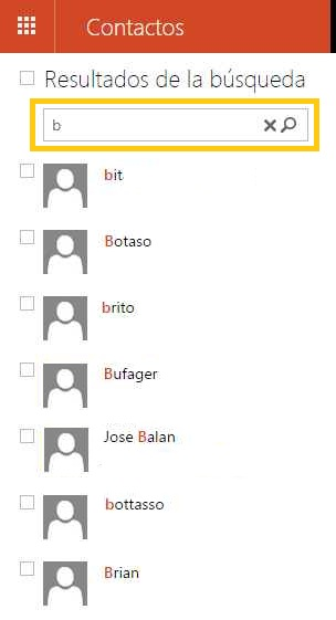 Buscar contactos en Outlook.com
