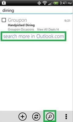 Buscar correos en Outlook.com para Android