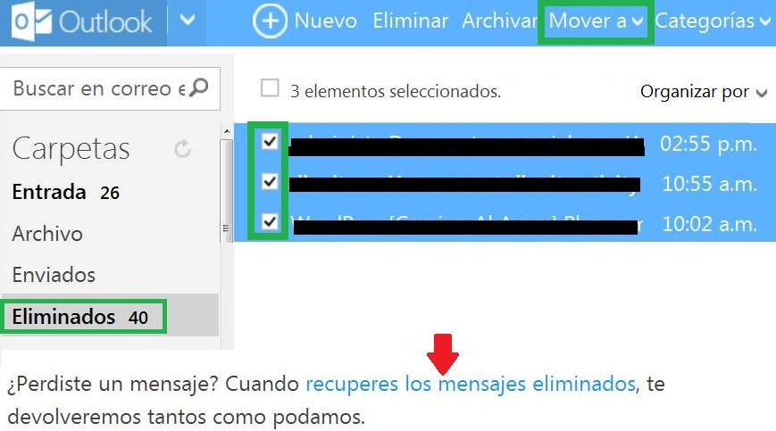 Cómo recuperar correos eliminados de Outlook
