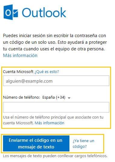Código de un solo uso en Outlook.com