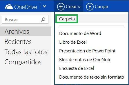 Cómo crear carpetas en OneDrive