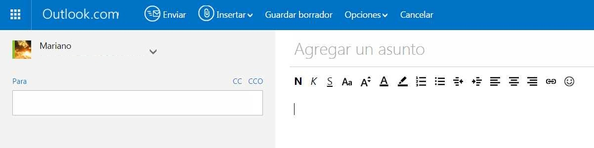 Cómo enviar un CV con Outlook.com