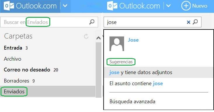 Cómo utilizar el buscador de Outlook.com