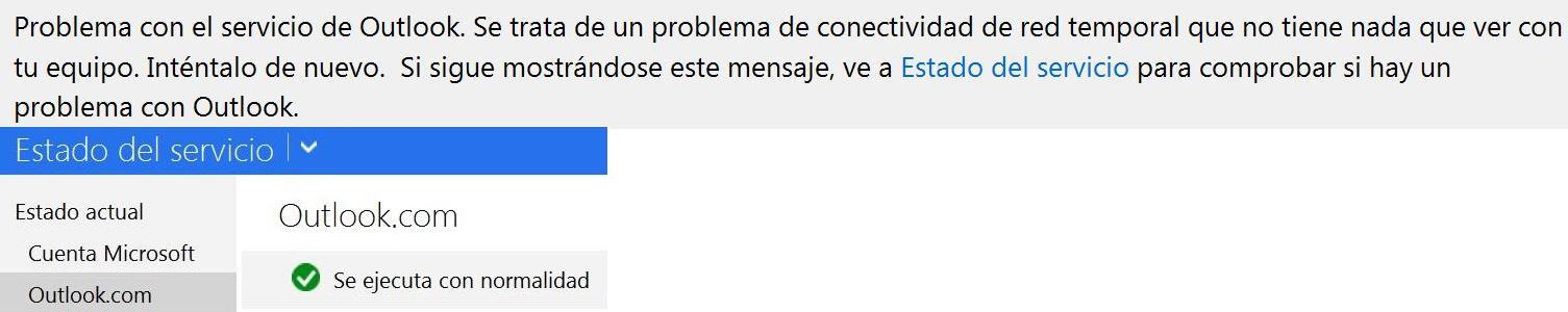 Caídas en el servicio de Outlook.com