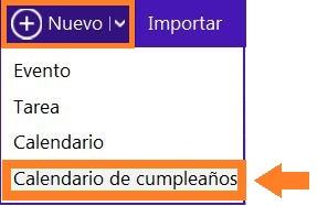 Calendario de cumpleaños en Outlook.com