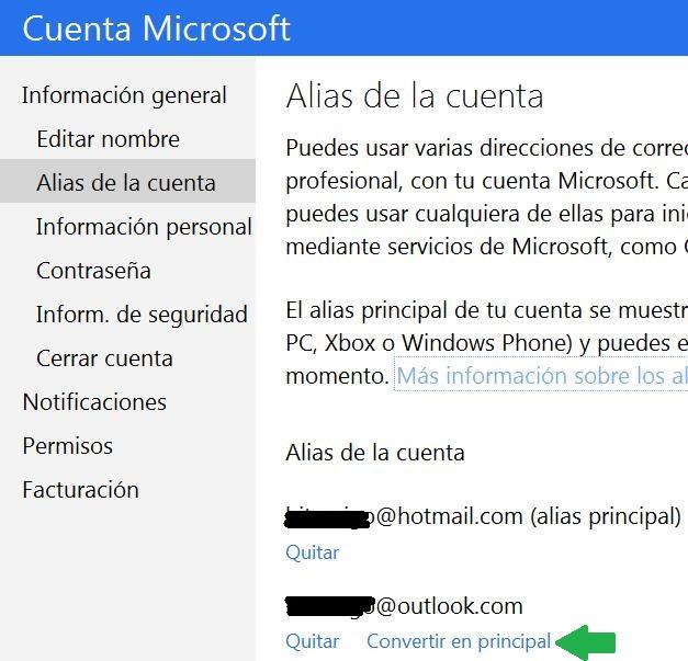 Cambiar el alias principal en Outlook.com
