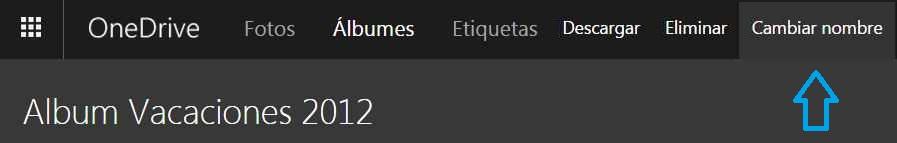 Cambiar el nombre de un álbum en OneDrive