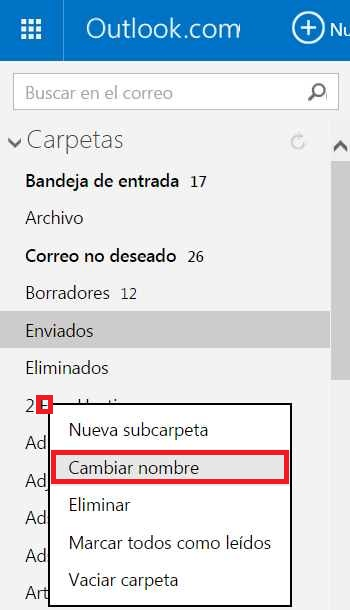 Cambiar el nombre de una carpeta en Outlook.com