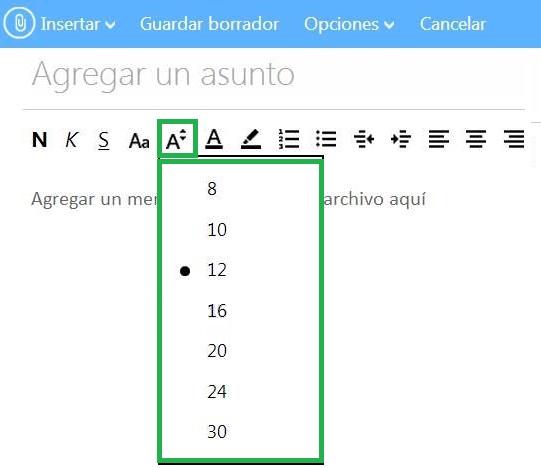 Cambiar el tamaño de la fuente en Outlook.com