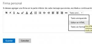 Firma en Outlook html