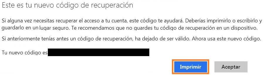 Clave de recuperación en Outlook.com