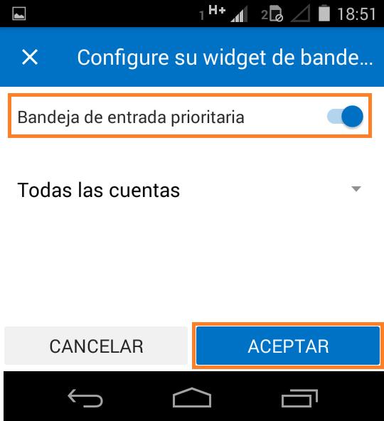 Como insertar el widget de Outlook para Android