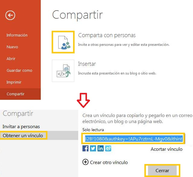 Compartir un documento de PowerPoint Online