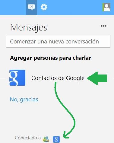 Comunicarse con contactos de Google desde Outlook.com