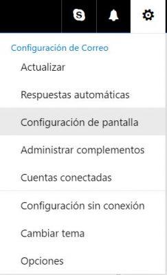 Configuración de pantalla en Outlook.com