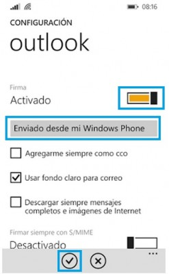 Configurar la firma en Outlook para Windows Phone