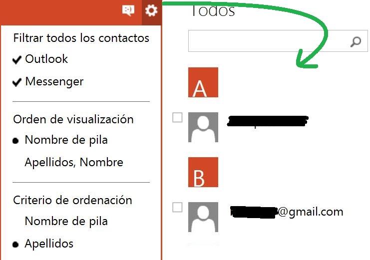 Configurar la lista de contactos de Outlook.com