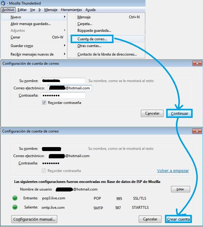 Configurar una cuenta de Outlook.com en Thunderbird