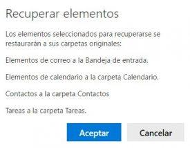 Confirmar la recuperación de correos en el nuevo Outlook.com